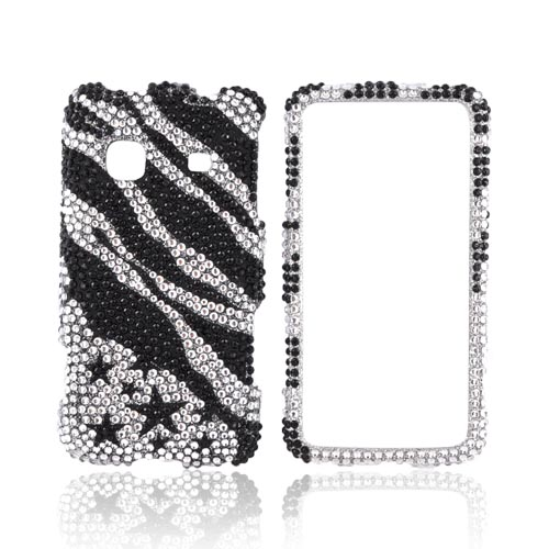 Samsung Prevail M820 Bling Hard Case - Black Zebra & Stars on Silver Gems