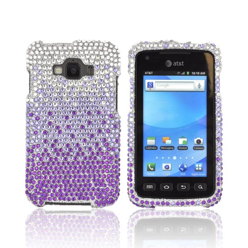 Samsung Rugby Smart i847 Bling Hard Case - Purple/ Lavender Waterfall on Silver Gems