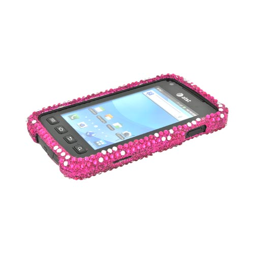 Samsung Rugby Smart i847 Bling Hard Case - Silver Hearts on Pink Gems
