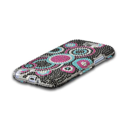 Black/ Magenta/ Turquoise Circles on Silver Bling Hard Case for Samsung Galaxy Note 2