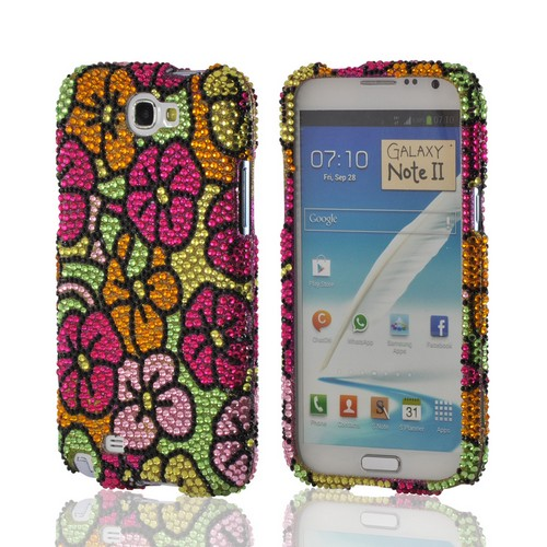 Green/ Hot Pink/ Yellow Hawaiian Flowers Bling Hard Case for Samsung Galaxy Note 2