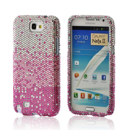 Magenta/ Baby Pink Waterfall on Silver Gems Bling Hard Case for Samsung Galaxy Note 2