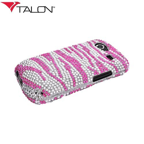 Google Nexus S Bling Hard Case - Pink Zebra on Silver Gems