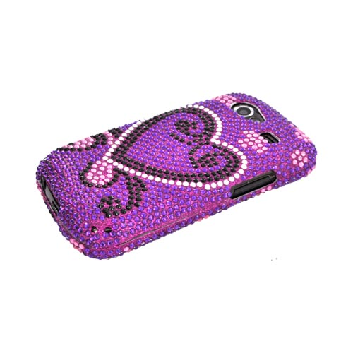 Google Nexus S Bling Hard Case - Silver/ Black Heart on Purple Gems