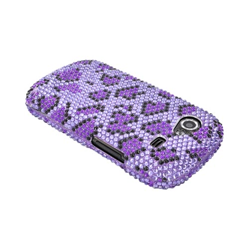 Google Nexus S Bling Hard Case - Purple/ Black Leopard on Light Purple Gems