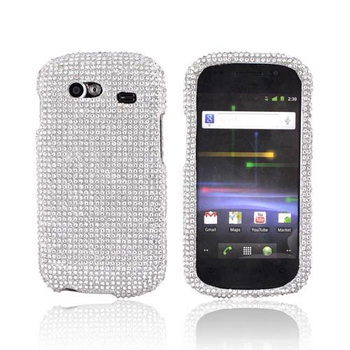 Google Nexus S Bling Hard Case w/ Crowbar - Silver Gems