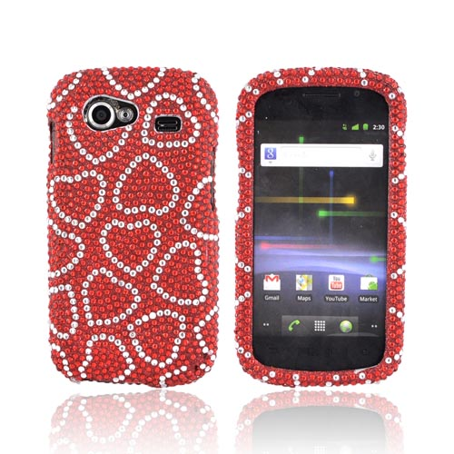 Google Nexus S Bling Hard Case - Silver Hearts on Red Gems