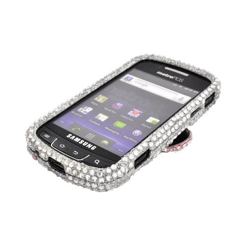 Samsung Rookie R720 Bling Hard Case - Pink Bling Bow on Silver Gems