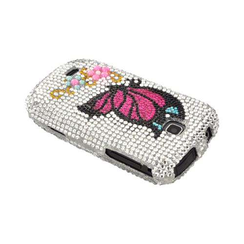Samsung Dart T499 Bling Hard Case - Hot Pink/ Black Butterfly on Silver Gems