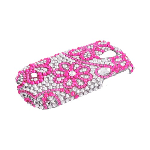 Samsung Gravity Smart Bling Hard Case - Pink Lace Flowers on Silver Gems