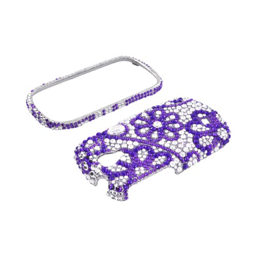 Samsung Gravity Smart Bling Hard Case - Purple Lace Flowers on Silver Gems