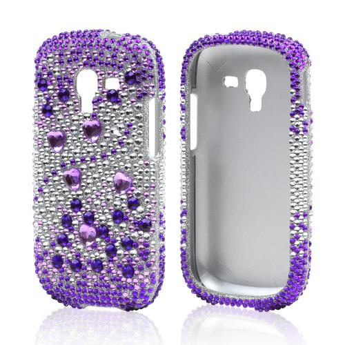 Purple Hearts on Purple/ Silver Bling Hard Case for Samsung Galaxy Exhibit