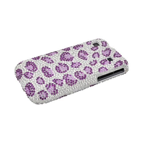 Samsung Vibrant/Galaxy S 4G Bling Hard Case w/ Crowbar - Purple Leopard on Silver Bling