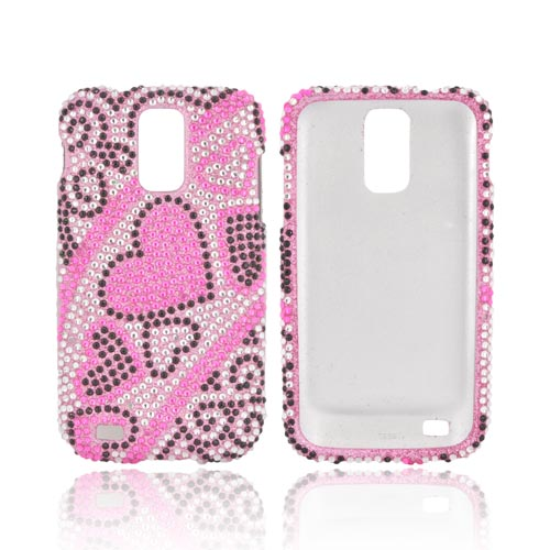 T-Mobile Samsung Galaxy S2 Bling Hard Case - Black/ Silver Hearts on Pink Gems
