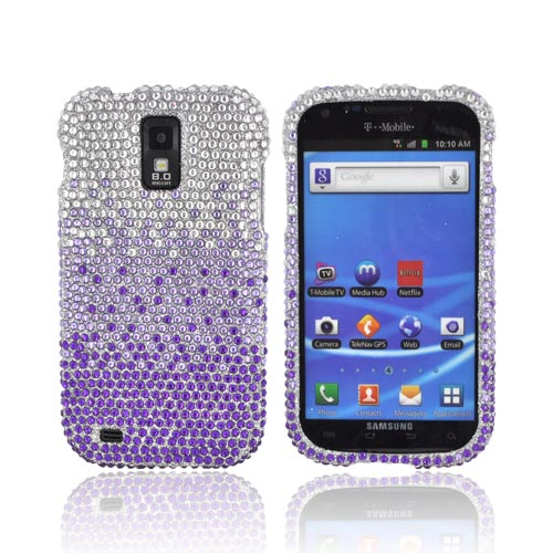 T-Mobile Samsung Galaxy S2 Bling Hard Case - Purple/ Lavender Waterfall on Silver Gems