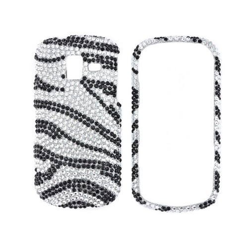 Samsung Intensity III Bling Hard Case - Black Zebra on Silver Gems
