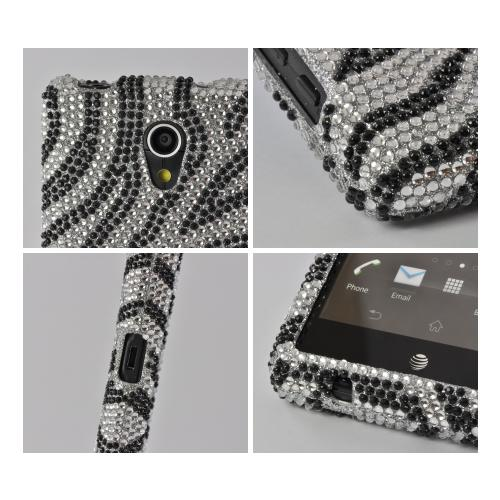Silver/ Black Zebra Bling Hard Case for Sony Xperia TL