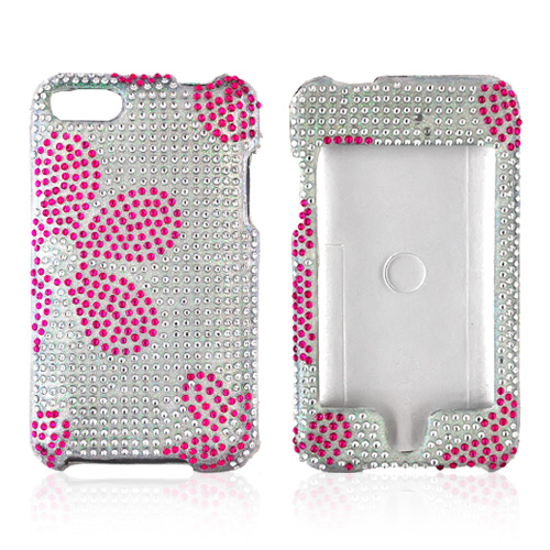 Apple iPod Touch 2 & 3 Bling Hard Case - Pink Daisies on Clear Gems