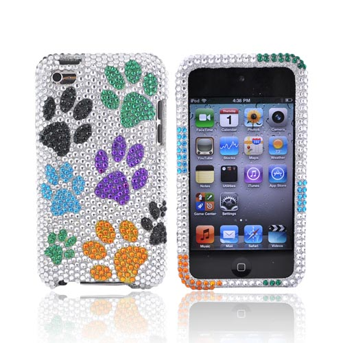Luxmo Apple iPod Touch 4 Bling Hard Case - Colorful Paw Prints on Silver