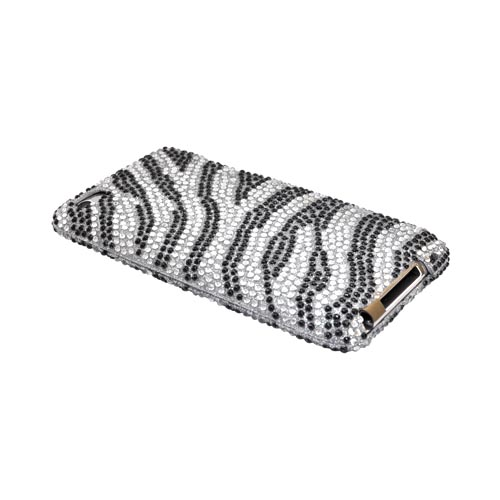 Luxmo Apple iPod Touch 4 Bling Hard Case - Silver/Black Zebra