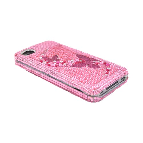 Apple Verizon/ AT&T iPhone 4, iPhone 4S Bling Hard Case - Butterflies on Pink