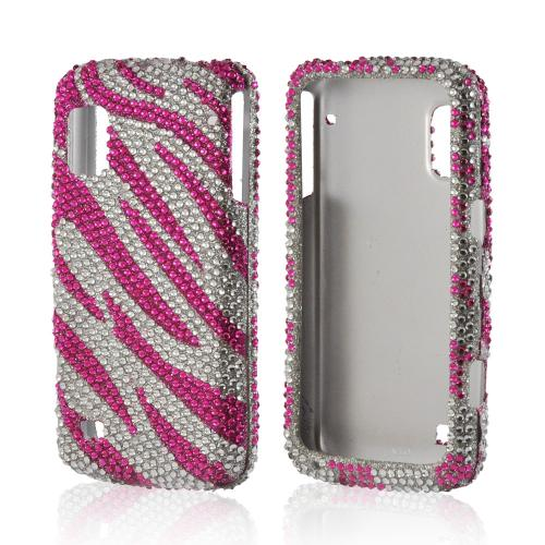 Hot Pink/ Silver Bling Hard Case for ZTE Warp