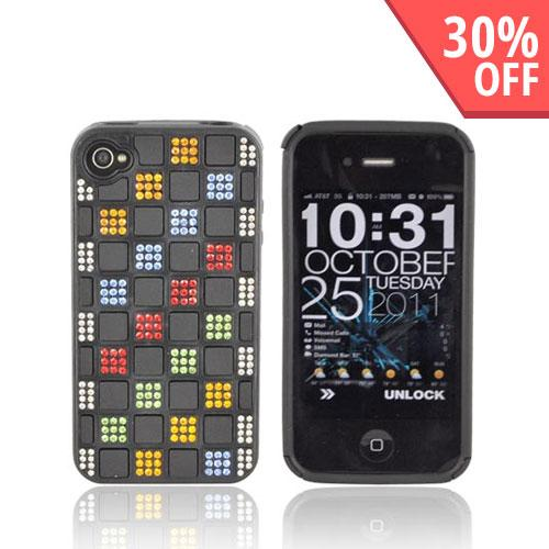 AT&T/ Verizon iPhone 4, iPhone 4S Hard Back w/ Bling on Crystal Silicone - Black w/ Multi-Color Gems