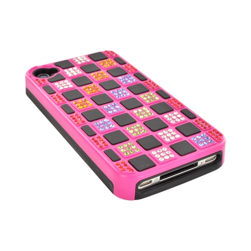 AT&T/ Verizon iPhone 4, iPhone 4S Hard Back w/ Bling on Crystal Silicone - Hot Pink/ Black w/ Multi-Color Gems