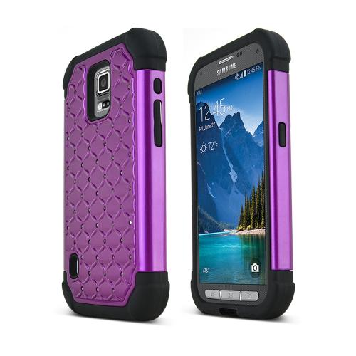 Purple Samsung Galaxy S5 Active Dual Layer Hard Cover w/ Bling Over Black Silicone Skin Case