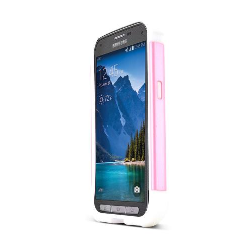 Baby Pink Samsung Galaxy S5 Active Dual Layer Hard Cover w/ Bling Over White Silicone Skin Case