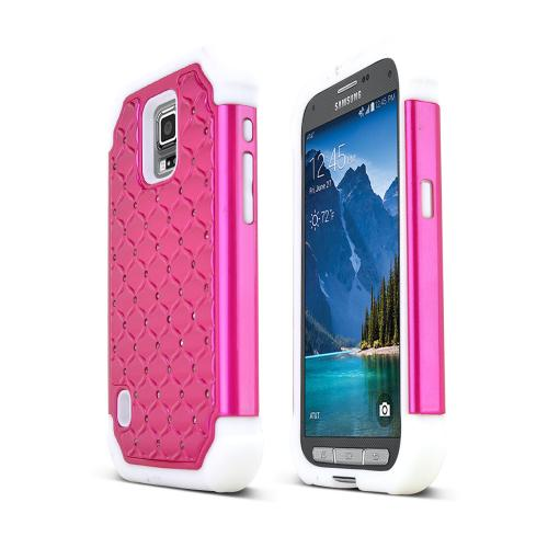Hot Pink Samsung Galaxy S5 Active Dual Layer Hard Cover w/ Bling Over White Silicone Skin Case
