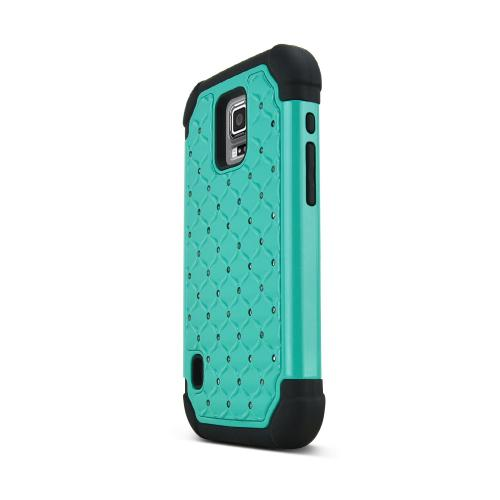 Dark Mint Samsung Galaxy S5 Active Dual Layer Hard Cover w/ Bling Over Black Silicone Skin Case