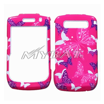 Blackberry Curve 8900 Hard Case - Pink, Purple, White Butterflies on Hot Pink