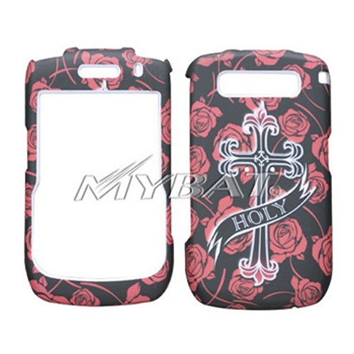 Blackberry Curve 8900 Hard Case - White Holy Cross on Red Roses on Black