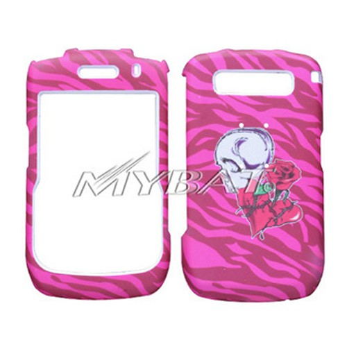 Blackberry Curve 8900 Hard Case - White Skull w/ Rose Through Heart on Hot Pink Zebra