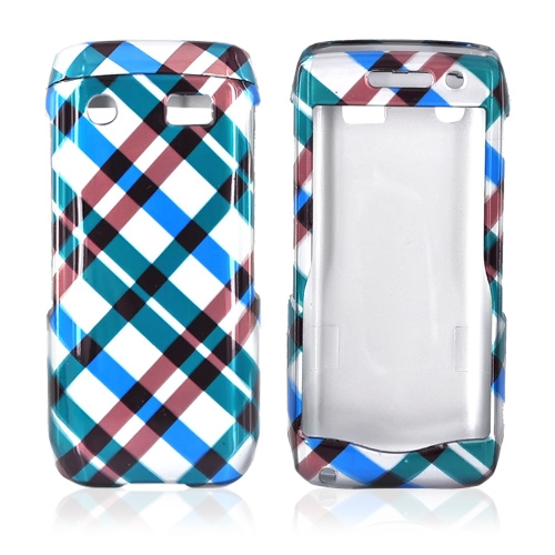 Blackberry Pearl 3G 9100/9105 Hard Case - Checkered Pattern of Blue, Brown, Green