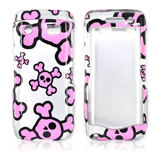 Blackberry Pearl 3G 9100/9105 Hard Case - Pink Skulls on Silver