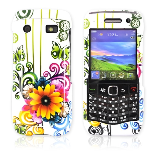 BlackBerry Pearl 9100 3G Hard Case - Rainbow Sunflower Floral Design on White