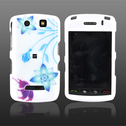 Blackberry Storm Hard Case - Flower and Butterfly on White