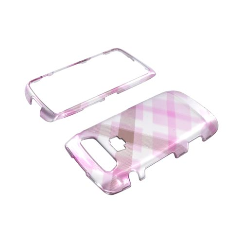 Blackberry Torch 9850 Hard Case - Baby Pink Plaid on Silver