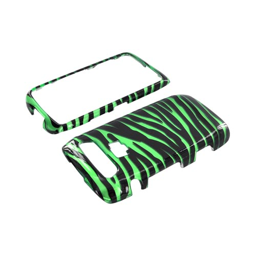 Blackberry Torch 9850 Hard Case - Green/ Black Zebra