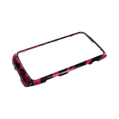 Blackberry Torch 9850 Hard Case - Hot Pink/ Black Zebra & Stars