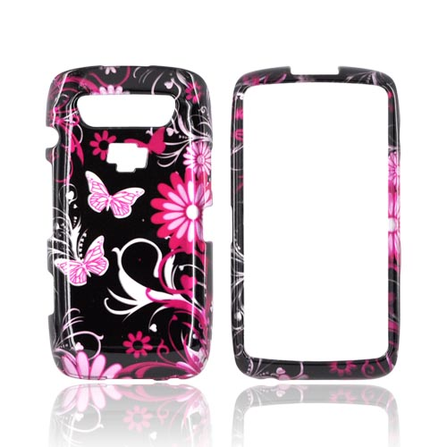 Blackberry Torch 9850 Hard Case - Pink Flowers & Butterflies on Black