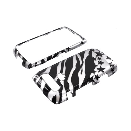 Blackberry Torch 9850 Hard Case - Black Zebra & Stars on Silver