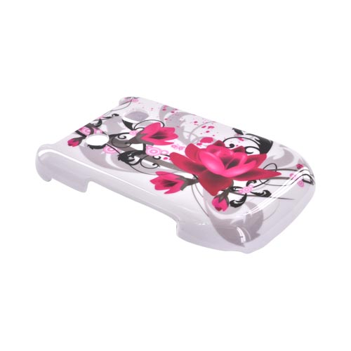 Blackberry Style 9670 Hard Case - Pink Flowers on White