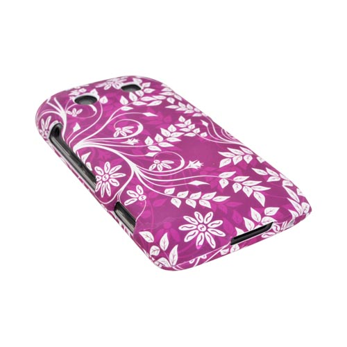 Blackberry Torch 9850 Rubberized Hard Case - White Leaves/ Flowers on Magenta