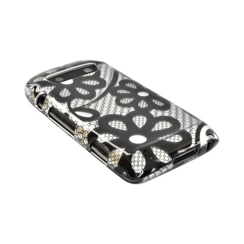 Blackberry Torch 9860, 9850 Hard Case - Black Lace Flowers on Silver