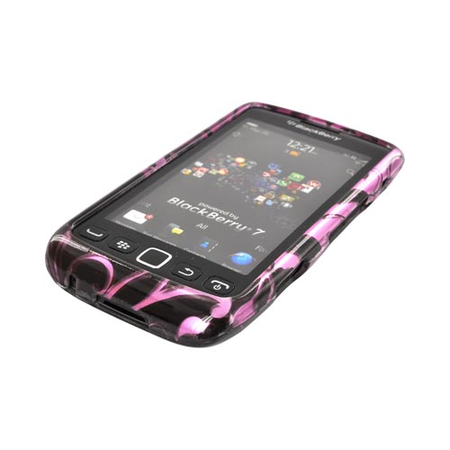 Blackberry Torch 9860, 9850 Hard Case - Black Swirl Design on Purple