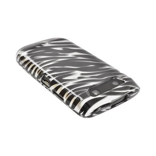 Blackberry Torch 9860, 9850 Hard Case - Black/ Silver Zebra