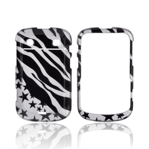Blackberry Bold 9900, 9930 Hard Case - Black/ Silver Zebra & Stars